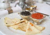 Siberian Blini with black and red caviar
