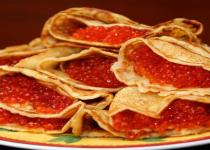 Blini (Pancakes) with red caviar