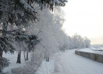 Embankment of the Angara River in winter